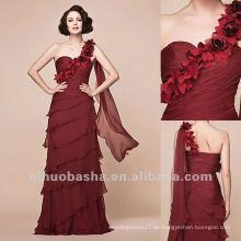 Graceful eine Linie eine Schulter Chiffon abgestufte gefaltete bodenlangen Abendkleid Brautkleid