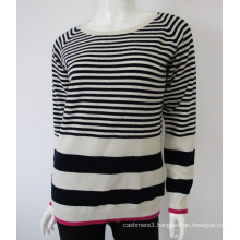 wholesale knit o neck striped pure cashmere sweater design for women
