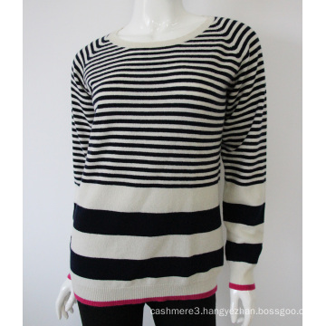 wholesale knit o neck striped pure cashmere sweater design for women