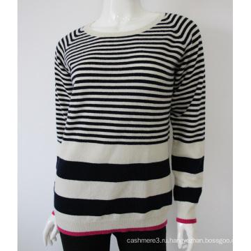 оптовая вязать полосатый o-образным вырезом чистый кашемир свитер для женщин