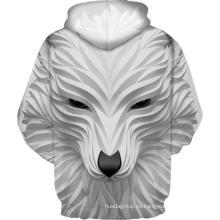 Sudadera con capucha blanca con estampado de lobo sonriente en 3D