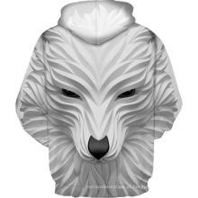Moletom com impressão 3D de lobo branco sorridente