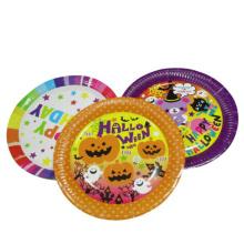 Navidad halloween niños linda calabaza papel placa