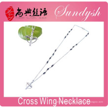 Colar de cruz rosários jóias de prata cadeia asa de anjo colar de pingente de cruz