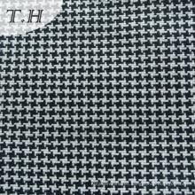 Tejido de sofá tejido a cuadros blanco y negro