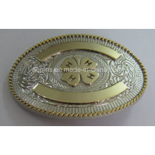 Oval 3D Alloy Belt Buckle com 2-Tone Plating (fivela de cinto-014)
