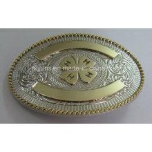 Oval 3D Alloy Belt Buckle com 2-Tone Plating (fivela de cinto-014)