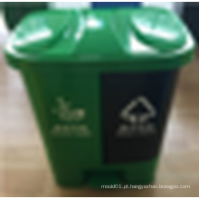 2016 Nova lâmpada de lixo de plástico para venda quente de 40L dividida em duas latas com pedal