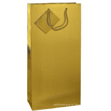 Gold Art Paper Folding Shopping Sac cadeau avec étiquette