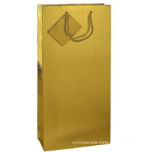 Gold Art Paper Folding Shopping Gift Bag with Tag