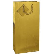 Gold Art Paper Bolsa de presente de compras dobrável com etiqueta