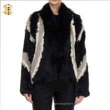 Manteau en fourrure de lapin authentique en cuir tricoté de style européen