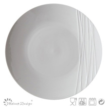 Simply Design White Porcelain Embossed Dinner Plate