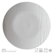 Simply Design White Porcelain Embossed Dinner Plate