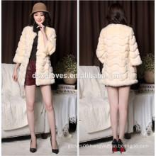 Lady's Plush Middle Long Fur Coat,Real Rabbit Fur Out Wear Coat Spring Autumn