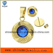 Shineme Schmuck Sets Fashion Gold überzogen Ohr Ohrstecker und Anhänger mit blauem Stein (ERS6998)