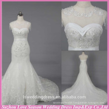 WD6024 Quality fabric heavy handmade export quality cap-sleeves lace long mermaid bridal dresses