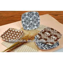 KC-00367/12 ceramic pizza plate/beautiful square plate set