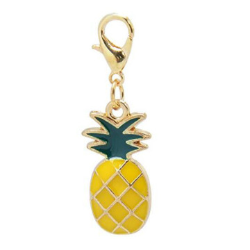 Exquisite Enamel Ananas Frukt Nyckelring Charms
