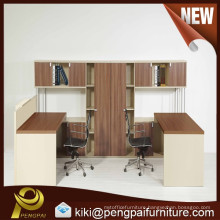 wooden office desk with drawer and bookshelf for one person