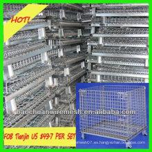 Jaula de paleta de contenedor de malla de alambre extraíble