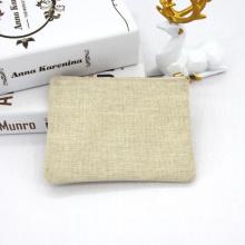 Jute Canvas Zipper Pouch Toiletry Bag Multi-Purpose Travel Cosmetic Bag Metallic Gold Hemp Makeup Zipper Pouch