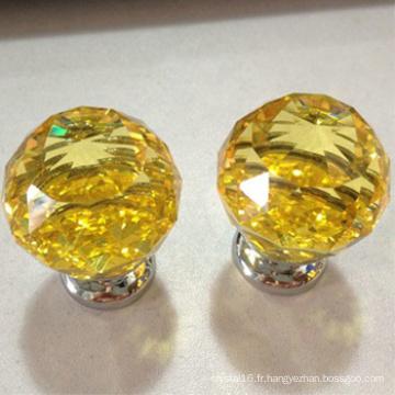 verre jaune boule de cristal boutons poignée push pull en gros