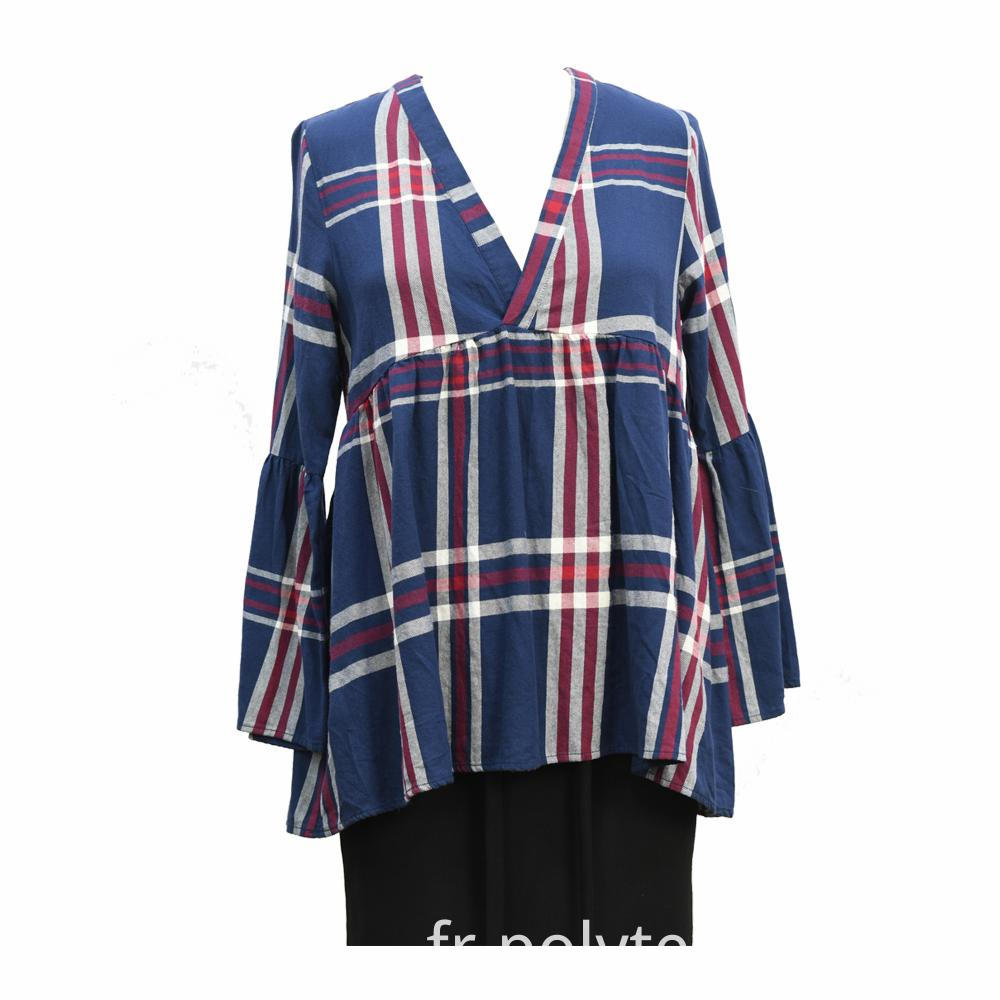 Blue Multi Checks Long Sleeves Top
