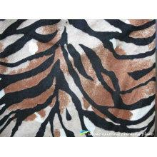 Patrones de cebra impresión a tejido de terciopelo de poliéster