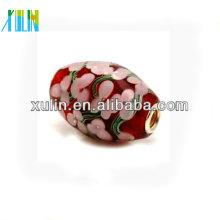 fashion newest style pink flower pattern lampwork glass european beads 18*20mm