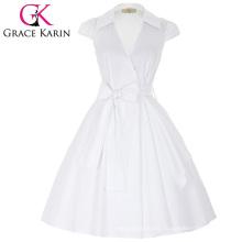 Grace Karin Cap Sleeve Lapel Collar V-Neck High-Stretchy White Retro Vintage Summer Dress CL008953-2