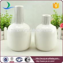 Vaso de cerâmica em relevo redondo branco por atacado