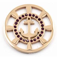 Rose Gold Boat Anchor Coin Plate avec cristal noir