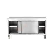 Table de travail en acier inoxydable de cuisine commerciale de portes coulissantes