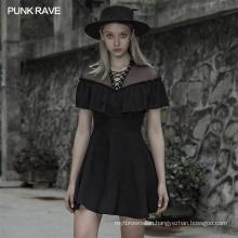 Gothic dress summer short sleeve patchwork mesh black sexy mini new navy dance fancy new fashion lady dresses OPQ-533 Punk Rave