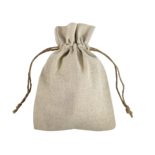Factory price custom logo jute drawstring pouch