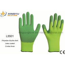 Polyester Double Shell Latex Coated Crinkle Finish Safety Work Glove (L5501)