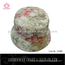 Girls Floral Print Cotton Bucket Sun Hat