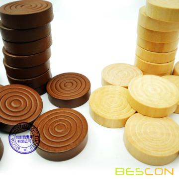 Bescon 1-3 / 16 Zoll Classic Carved Stapelbar Holz Checkers in Naturholz und braune Farbe (30 Stück) - Mit Tunnelzug Tuch