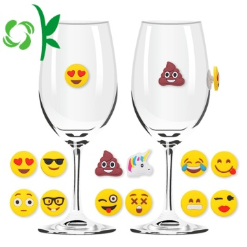 Personalized Silicone Kustom Emoji Sucker Wine Glass Marker
