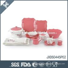 2014! New 45pcs fine porcelain square dinner set, new square shape, colored dinner set
