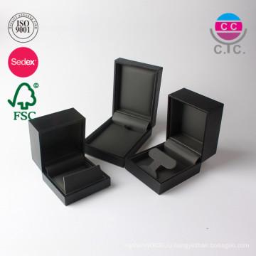 Изготовленный на заказ кожаный коробка подарка упаковки ювелирных изделий фланели