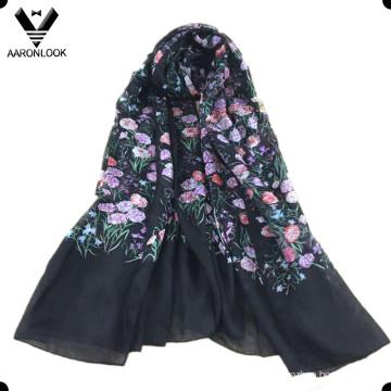 Lenço de seda pura colorido da cópia da flor da grama das mulheres