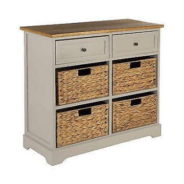 grey cabinet,2 wood / 4 basket drawers, paulownia wood
