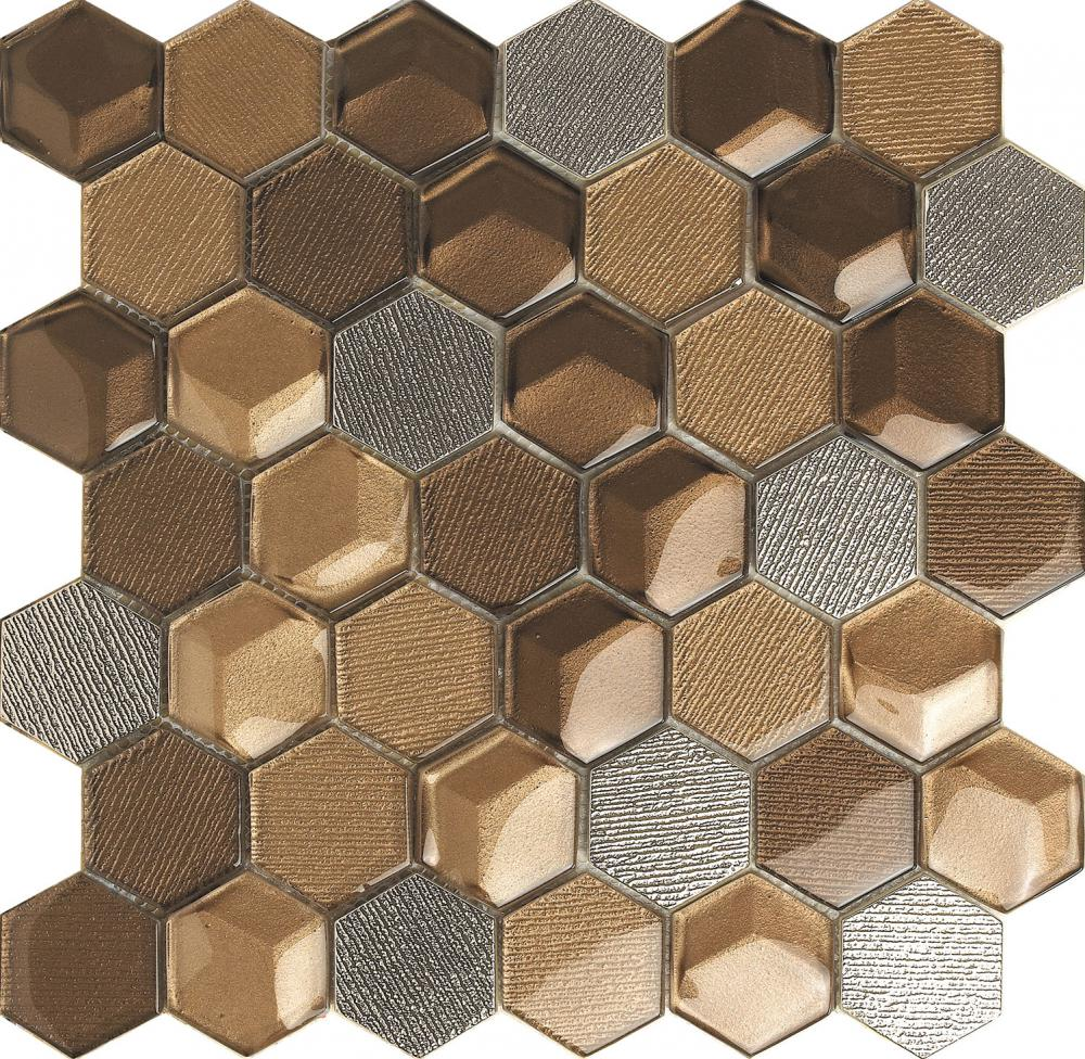 Metal Look Hexagon Glass Mosaic Tile