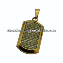 gold carbon fiber dog tag pendant stainless steel jewelry