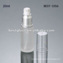 20ml frosted empty glass cosmetic bottle with silver pump cap