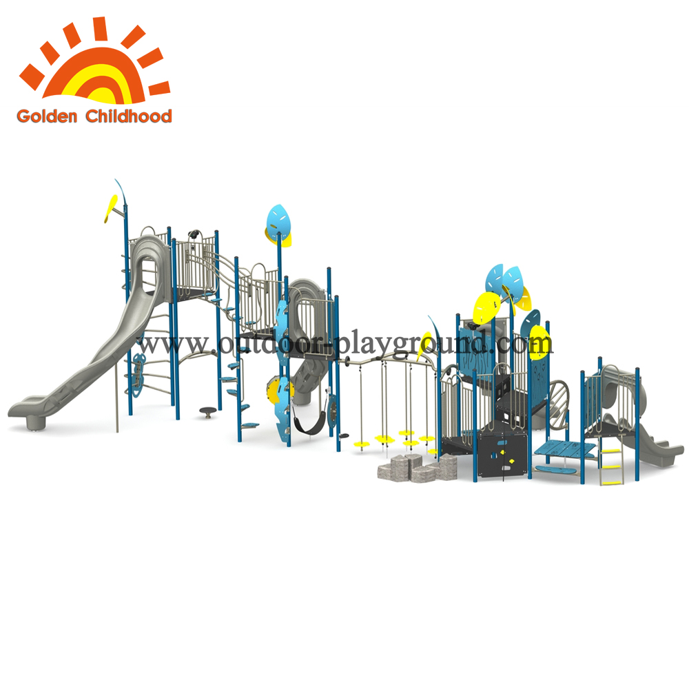 Bule And Yellow Slide Combination Outdoor Playground Equipment