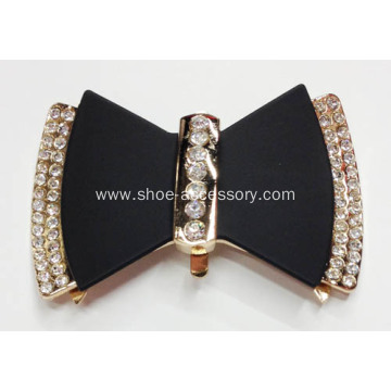 Charming Double-Bowknot Metal Buckle with Rhinestone Round for Flats, Handbags, Garments Decor.
