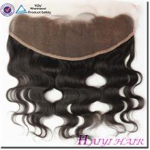 Cierre frontal de encaje virgen estilo humano 13 * 4 cabello con paquete